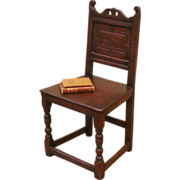 REDUCED Antique Chair, 18th Century English Oak Carved Country.