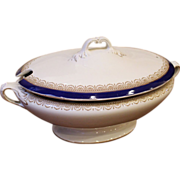 REDUCED Large Antique Lidded Tureen, Serving Dish. English.