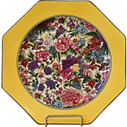 Vintage Purple Chintz Plate, Crown Ducal, Octagonal, English