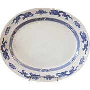 Antique Stoneware Platter, Blue & White Dragon Pattern, Cauldon, England.