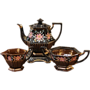 REDUCED Victorian Black & Copper Luster, Enameled Red Ware Tea Set. English C.1860.