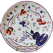 REDUCED 19th C. Gaudy Welsh Cake Plate. Oyster Pattern.