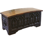 REDUCED Antique Oak Dome Top Chest or Coffer, 15th Century Gothic Carved.