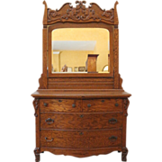 REDUCED Antique Mirrored Dresser, Oak Dressing Table, American C.1900.