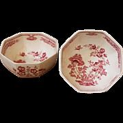 SOLD Vintage Mason's Ironstone Bowls, Octagonal, Mancho Pattern. Pair. English.