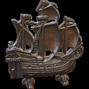 Vintage Cast Iron Ship Door Stop, Mayflower, Sail Ship.