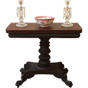 Antique Empire Card Table, Fold Top, Griffin Carved Feet.