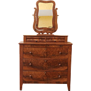 REDUCED Antique Mirrored Dresser, Empire Style, American C.1880.