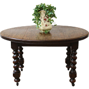 Rustic Antique English Oak Barley Twist Oval Extending Dining Table.