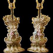 REDUCED Pair of Vintage Porcelain  Lamps, Romantic Kissing Couple, Arnart Creations, Japan.