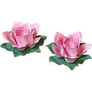 Pair of Vintage Porcelain Pink Rose Candle Holders. Crown Staffordshire, English C.1940.