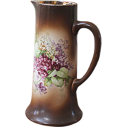 REDUCED Antique Bisque Tall Painted Pitcher, Tankard, Chicago ILL