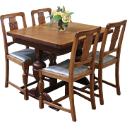 REDUCED Antique Dining Set, English Pub Table and 4 Chairs, Oak.