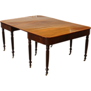 REDUCED Antique English Mahogany Sheraton Dining Table, 2 Part D End.