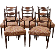 REDUCED Antique English Mahogany Sheraton Dining Chairs, Set of 8.