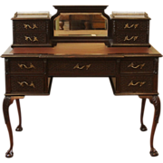 REDUCED Antique Chippendale Desk, Ladies Writing Table. English, Carved Mahogany.