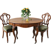 REDUCED Antique French Dining Table & Chairs. Walnut, C.1880.