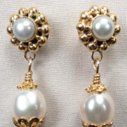 TUDOR PEARL Earrings Cultured Freshwater Pearl Drop  24K GV Renaissance Style