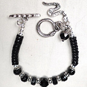 SOLD 'Snake' Bracelet Vintage French Jet Glass British Victorian Whitby Jet African Trade Bead