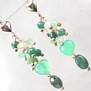 SOLD VENUS In GREEN Earrings Emerald Chrysoprase Prehnite 24K GV Ancient Roman Style - Red Tag
