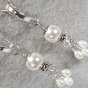 SOLD TUDOR PEARL Hoop Earrings 2 Swarovski Crystal Pearl Silver Tudor Renaissance Style