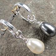 SOLD Venus At A Mirror Earrings Black & White Swarovski Crystal Pearls Silver Hoops