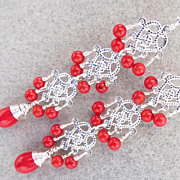 My Medieval Heart Earrings Dyed Red Bamboo Coral Filigree Medieval Style