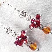SOLD Lady Fireheart Earrings Amber Carnelian Garnet Silver Medieval Style