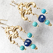 SOLD Edwardian Style Earrings Blue Sodalite Magnesite Turquoise 14K GV - Red Tag Sale Item