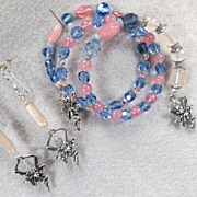 SOLD TITANIA The Fairy Queen Set Coil Bracelet Earrings Angelite Rose Quartz Pink Chalcedony