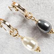 SOLD Venus At A Mirror Earrings Black & White Swarovski Crystal Pearls 14K GF Hoops