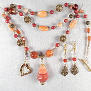 LADY FIREHEART Set Spiderweb Carnelian Amber Coral Banded Agate Vintage Bronze Filigree Mediev