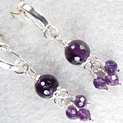 Anne Boleyn Wears Purple Earrings Amethyst SSF Hoops Tudor Renaissance Style
