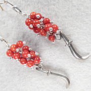SOLD MEDIEVAL HEALING WOMAN Earrings Silver Sickle Knife Charms Red Coral
