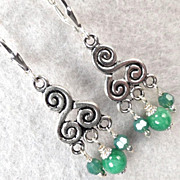 Cliodna of the Waves Earrings Jade Green-Opal Crystal Celtic Medieval Style