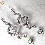 Serpents Of Ireland Earrings Green Snakeskin Crystal Celtic Medieval Style
