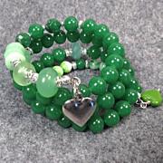 SOLD VENUS IN GREEN Coil Bracelet Green Chalcedony Vintage Bohemian Czech Art Glass