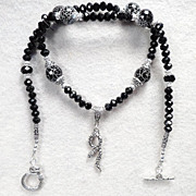 SOLD Serpents of Ireland Necklace Black Snakeskin Agate Jet Crystal Celtic Medieval Style