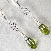 SOLD Guinevere In Spring Earrings Green Cubic Zirconia Silver Celtic Medieval Style - Red Tag