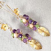 SOLD PRIMAVERA Earrings Amethyst Nephrite Jade 24K GV Renaissance Style