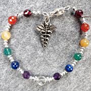 SOLD CHAKRA KUNDALINI Bracelet Chakra Gems Caduceus Charm