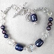 SALE PENDING WISE CRONE Bracelet Vintage 1920-30s Crystals Blue Cultured Pearl