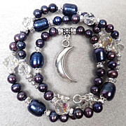 SALE PENDING WISE CRONE Set Vintage 1920s-1930s Crystals Indigo Cultured Pearls Divine Feminin