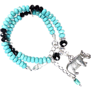SOLD William The Hippopotamus Anklet Magnesite Turquoise Jet Crystal Ancient Egyptian Style -