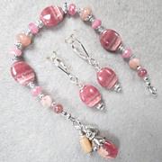 The Great Inca Priestesses Set Bracelet Earrings Rhodochrosite Peruvian Pink Opal