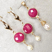 SOLD Isabella Longs For Love Earrings Rubies Ruby Set Cultured Pearl 24K GV 14K GF French Medi
