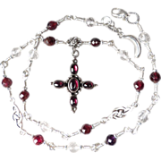 SOLD MORGAN LEFAY Necklace Garnet Quartz Crystal Silver Druid Cross Celtic Medieval Style