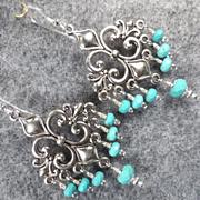 MELUSINE Earrings Fleur-De-Lys Magnesite Turquoise Medieval Water Enchantress