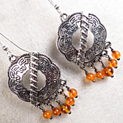 SHIELD MAIDEN Earrings Amber Norse Medieval Style