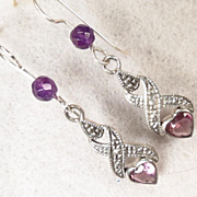 LILLIE LANGTRY Earrings Amethyst Silver Edwardian Style